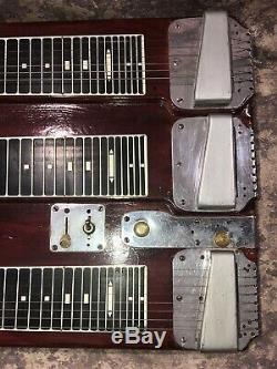1950s Fender Triple Neck 8 String Steel Guitar WithFoot Pedal No Case Works As Is