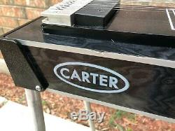Carter 10 String Steel Guitar with Hard Case 3 Pedal, 4 Lever (Black) 3x4