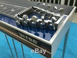 GFI Ultra S10 Pedal Steel Guitar withPad, BLUE, 3 Pedals and 4 Knee Levers, CASE