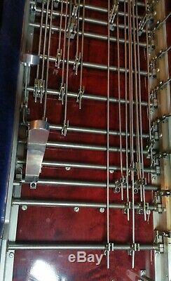 Msa Classic XL Dbl 10 Pedal Steel Guitar Beautiful Wood Grain Red 4 Kn Lvr/ 8 Fl