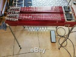 Red MSA Super Sustain D10 8X4 Pedal Steel Guitar withCase Very Good Cond
