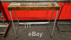 Sho Bud Maverick S10 Brown Burl Pedal Steel Guitar withHard Case Very Good Cond
